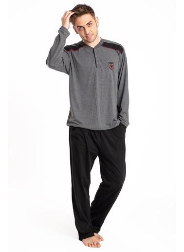 Pemilo Erkek 645 Cepli Uzun Kol Yazlık Pijama Takımı SİYAH Füme